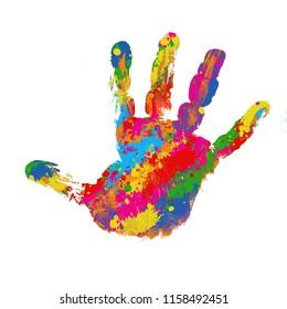 Colorful handprint on white background, vector illustration