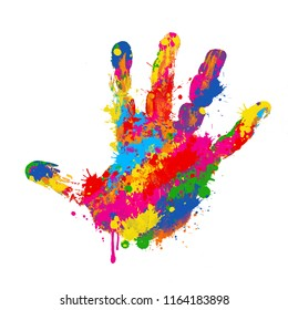 Colorful handprint on white background, vector illustration
