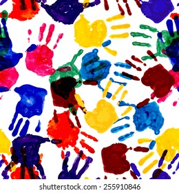 Colorful handprint seamless pattern. Vector, EPS10