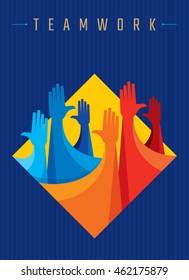 Colorful up hands design for teamwork concept illustration