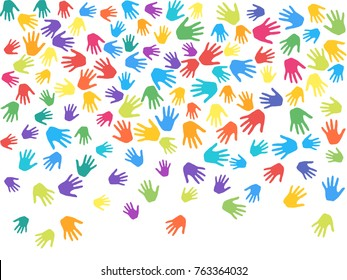 Colorful hands, palms isolated on white vector background illustration. Multicolored handprints - symbols of friendship, teamwork, cooperation and partnership. Cartoon children hands prints in paint.