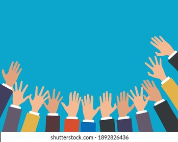 Colorful Hands Raised On blue Background
