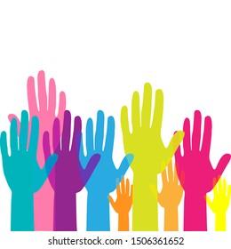 Colorful up hands. Raised hands volunteering. team work concept. Vector illustration.