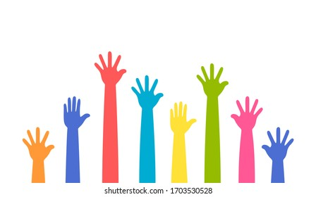 Colorful up hands set, vector illustration
