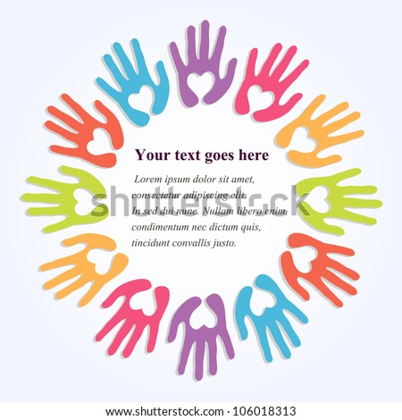Colorful Hands Symbolic Hearts Frame Your Stock Vector (Royalty Free ...