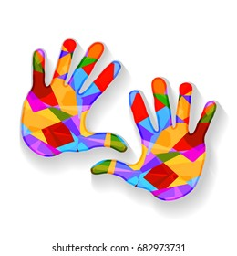 Colorful hands, vector