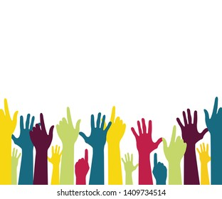 Colorful up hands . Vector background for health awareness support hope charity with elegant look.  cultural and ethnic diversity, vector illustration