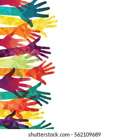 Colorful up hands. Vector illustration.