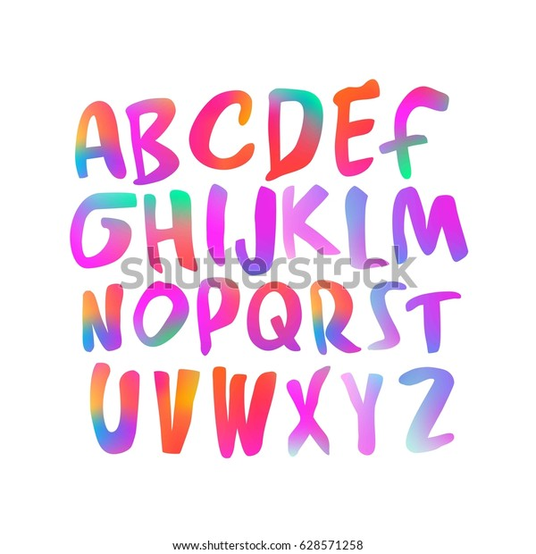 Colorful Handwritten Script Font Alphabet Vector Stock