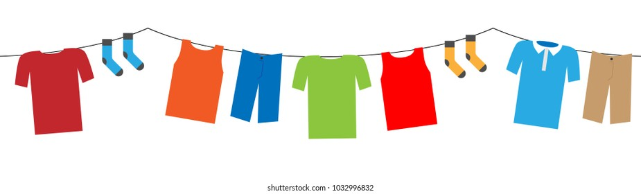 colorful hanging laundry vector decorative garland isolated on white background
