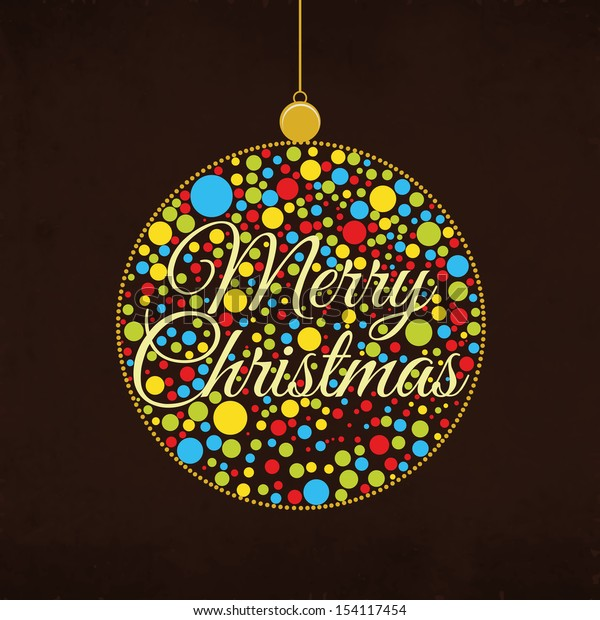 Colorful hanging Xmas ball on brown background for Merry Christmas celebration.