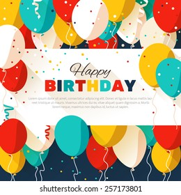 Colorful Happy Birthday. Announcement / poster / flyer / greeting card in a flat style. Vector illustration