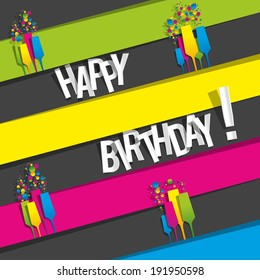 Colorful Happy Birthday Greeting Card vector illustration