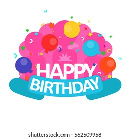 Colorful Happy Birthday. greeting card in a flat style. Vector illustration