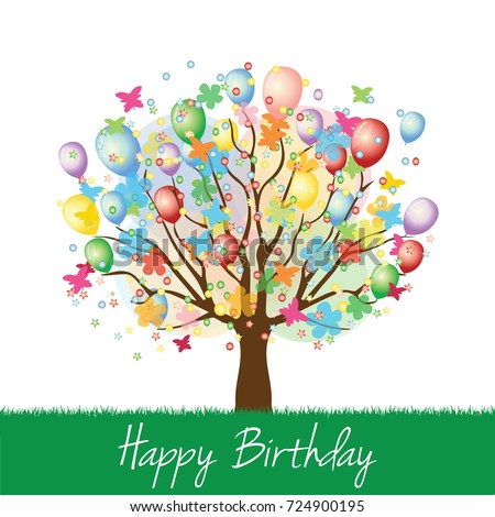 Colorful Happy Birthday Tree With Balloons And Butterflies Vector Illustration