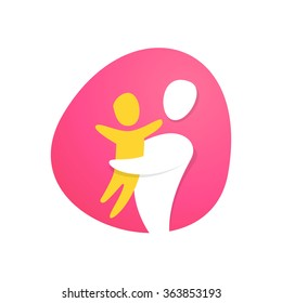 Colorful happy family logo design. Family hug. Vector elements for your application or corporate identity design.