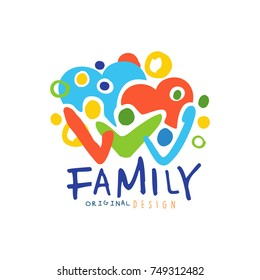 Colorful happy family logo with people and hearts