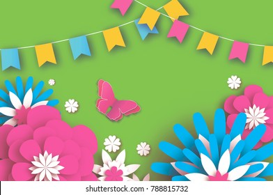 Colorful Happy Floral Greeting Card. Paper cut Flowers, Butterfly. Origami flower. Flag garland. Spring blossom. Seasonal holiday on green. Traditional paper decoration.