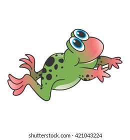 colorful happy frog jumping cartoon-vector drawing
