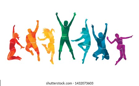 Colorful happy group people jump illustration silhouette. Cheerful man and woman isolated. Jumping fun friends background. Expressive dance dancing, jazz, funk, hip-hop hands up