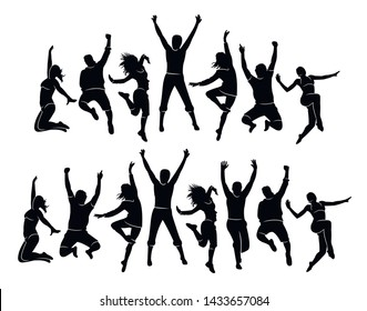 Colorful happy group people jump illustration silhouette. Jumping fun friends background. Expressive dance dancing, jazz, funk, hip-hop hands up