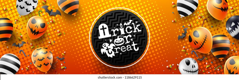 Colorful Happy Halloween trick or treat on Orange Background with Halloween Ghost Balloons.Scary air balloons.Website spooky,Background or banner Halloween template.Vector illustration EPS10