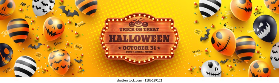 Colorful Happy Halloween trick or treat on yellow Background with Halloween Ghost Balloons.Scary air balloons.Website spooky,Background or banner Halloween template.Vector illustration EPS10