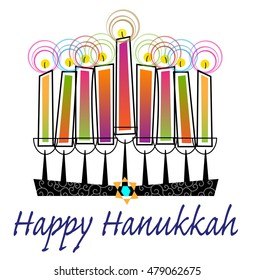 Colorful Happy Hanukkah - Stylized menorah with colorful candles and Happy Hanukkah text. Eps10