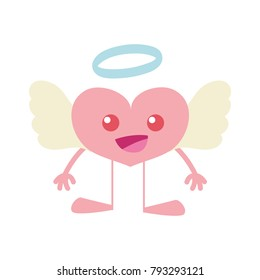 colorful happy heart angel kawaii with arms and legs