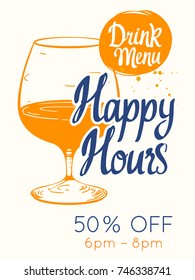 colorful happy hour signs background. vector illustration