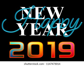 Colorful happy new year 2019, 3D text vector template in blue color
