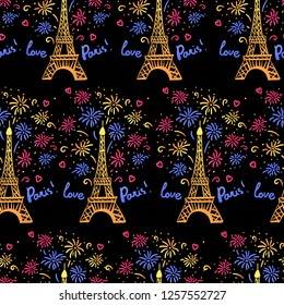 colorful happy new year in paris seamless pattern vector illustration ink eiffel tower with salute