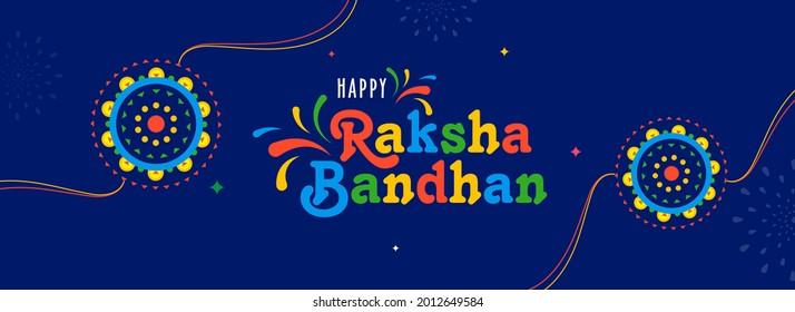 Colorful Happy Raksha Bandhan Font With Floral Rakhis On Blue Background. Header Or Banner Design.