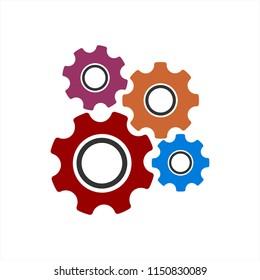 colorful harmonic gear set icon