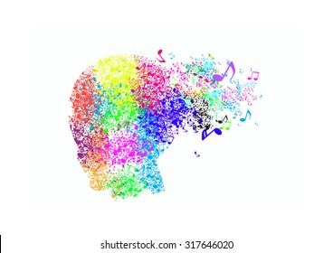 Colorful head design on abstract music background
