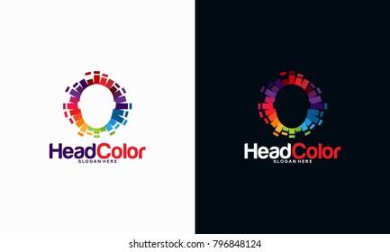 Colorful Head logo template, Pixel Head logo concept vector, Robotic Technology Logo template designs vector illustration