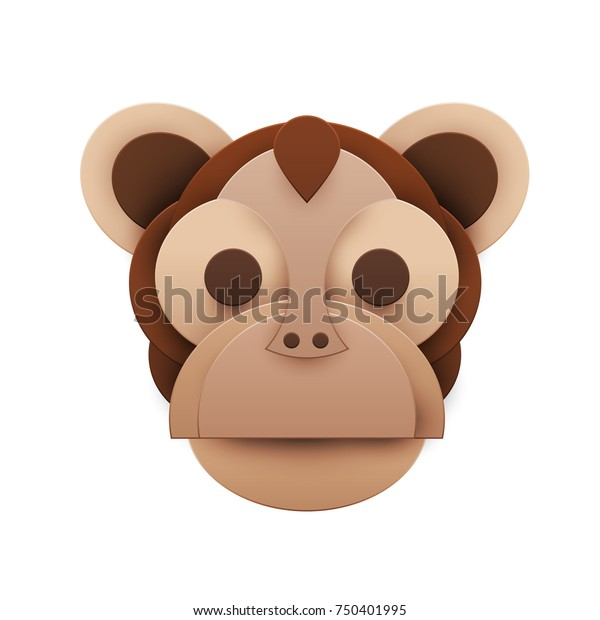 Colorful head monkey in trendy paper cut craft graphic style. Modern design for advertising, branding greeting card, cover, poster, banner. Vector illustration.