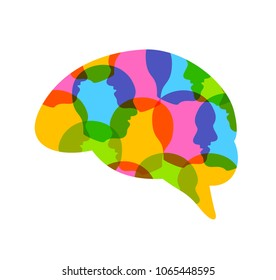 Colorful  head of people in human brain shape. Creative idea symbol. Icon design, illustration isolated on white background.