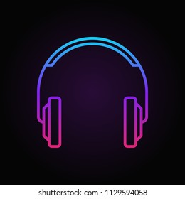 Colorful headphones simple vector icon or logo element in thin line style on dark background