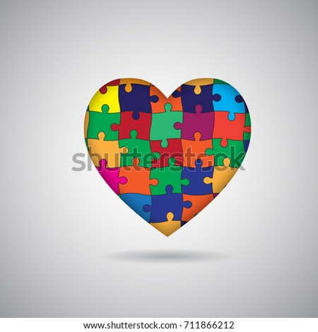 colorful heart puzzle template stock vector royalty free 711866212