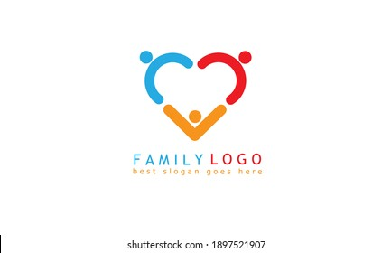 Colorful heart shape family logo design. isolated white people logo template. vector