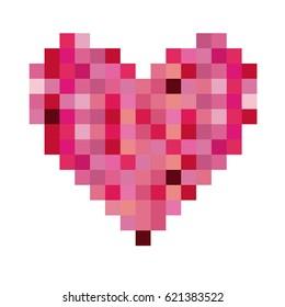 colorful heart shape pixelated design vector illustration