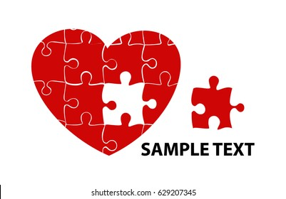 Colorful heart shaped puzzle vector graphic