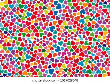 Colorful hearts abstract background