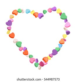 Colorful Hearts Candy frame for Valentines Day. Vector illustration for your design on white background.