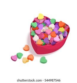 Colorful Hearts Candy for Valentines Day for posters, cards or leaflet. Vector illustration for your design on white background.