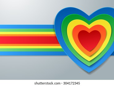 Colorful Hearts Cut from Paper, Vector Illustration