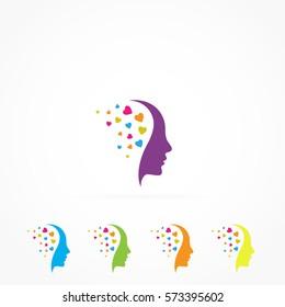 Colorful Hearts human head logo