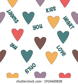Colorful hearts pattern witn words love, only you, kiss, sweet, heart