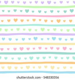 Colorful hearts and stripes seamless vector pattern. Valentine day or Easter multicolored simple background. Hearts of different size and uneven, doodle style bars endless texture.